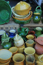 Artisanal pottery from the provence in various shapes and colors france Stock Photography