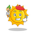 Artist cute sun character cartoon Royalty Free Stock Photo