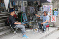 Artist drawing a portrait on gulangyu island in china xiamen city southeast Stock Photos