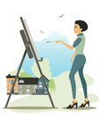 Artist drawing. Royalty Free Stock Photo
