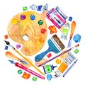 Artist materials in round composition- palette, palette knives, brushes, pens and tubes. Hand drawn sketch watercolor illustration