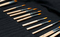Artist paint brushes in a bag black Royalty Free Stock Images