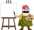 Artist painter and art easel cartoon with palette brush next to with blank white painting isolated on white background you can Royalty Free Stock Photography