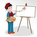 Artist paints picture on easel illustration of young who with brush painting Royalty Free Stock Image