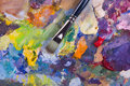 Artist's palette and brush Royalty Free Stock Image