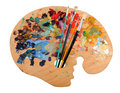 Artist's Palette with Brushes Royalty Free Stock Photography
