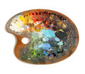 Artist's palette with multiple colors Royalty Free Stock Photo