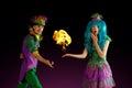 stock image of  Artist team make amusement soap bubble