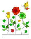 Artistic angular flower line art card Royalty Free Stock Images
