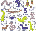 Artistic cartoon creatures Royalty Free Stock Image