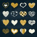 Artistic collection of hearts in assorted designs vector with doodles intricate calligraphic design patterns and freehand white Stock Photos