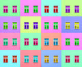 Artistic colorful composition of two modern windows reproduced in different colors Stock Photography