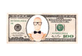Artistic dollar bill with wooden Dummy president Royalty Free Stock Photo