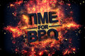 Artistic dramatic poster for time for bbq with black text surrounded by fiery orange flames and sparks over a black background Stock Photography