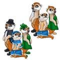 Artistic family of meerkats in evening dress