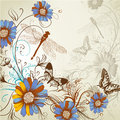 Artistic floral hand drawn background vector with flowers leafs and butterflies Stock Image