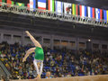Artistic gymnastics kiev ukraine march elena rega uzbekistan performs balance beam exercise during international tournament in Stock Photos
