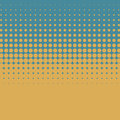 Artistic halftone retro color vector background with yellow dots on blue background. Royalty Free Stock Photo