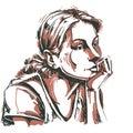 Artistic hand-drawn vector image, portrait of delicate melanchol
