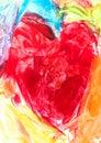 Artistic heart painted with encaustic technique