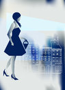 Artistic illustration stylish girl going shopping blue city Royalty Free Stock Photos