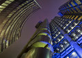 Artistic impression city london night incorporatiing lloyds building Stock Photos