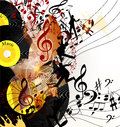 Artistic music background with vinyl record and notes in psyche cute conceptual for your design Royalty Free Stock Images