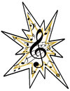 Artistic musical notes icon logo tranparent png available Stock Photo