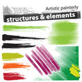 Artistic painterly grunge design elements (set) Royalty Free Stock Photo