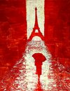 Artistic painting of a woman walking under an umbrella to the Eiffel Tower