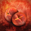 Artistic peach fruit on orange texture two peaches are isolated a bright textured background with rough areas Stock Image