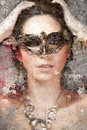 Artistic portrait with background texture, sensuality and myster Stock Photography