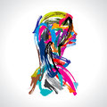 Artistic portrait of lady with colours strock