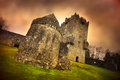 Artistic rendition of aughnanure medieval castle in oughterard ireland Stock Photo