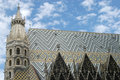 The artistic roof of the Basilica of Saint Stephen in Vienna in Royalty Free Stock Photo