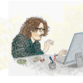 Boy at computer,Artistic silkscreen,with glasses