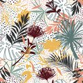 Artistic .Vector seamless pattern with hand drawing silhouette botanical wild plants, leaves and flowers, colorful botanical
