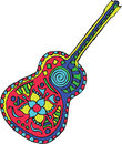 Artistically hand drawn, zentangle stylized guitar vector - colo Royalty Free Stock Photo