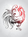 Artistically painted red rooster with a black tail with a gray background Royalty Free Stock Photography