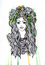 Artistis watercolor and ink pen girl with crown illustration this image has attached release Stock Photos
