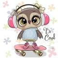Ð¡artoon owl on a skateboard with headphones