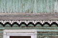 artsy decor trim and classic old wooden house. triangular patterns wood texture turquoise color.