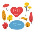 Artsy Vector Illustration Autumn Set with lettering