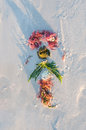 Artwork on a beach temporary using sea plants and shells Royalty Free Stock Photo