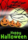Artwork dedicated to halloween three carved pumpkins hill big full moon shines foggy night bats flying sky Stock Photo