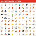 100 artwork icons set, isometric 3d style