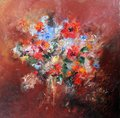 Artwork oil painting. Bouquet with poppies