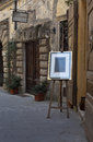 Artwork stand on the street of italian city sorano tuscany Royalty Free Stock Images