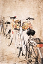 Artwork in vintage style bicycles autumn Stock Photos