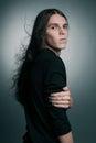 Bohémsky portrét módne samec dlho vlasy